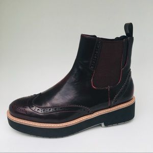 Zara Chelsea Wingtip Platform Slip On Ankle Boots